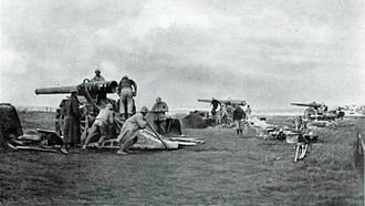 105th Siege Battery, Royal Garrison Artillery - A battery of French 120 mm guns in action.