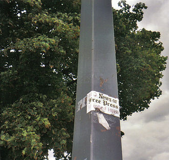 """Detroit newspaper strike of 1995–97 - Bumper sticker showing support for the strike and boycott, saying """"No News or Free Press Wanted Here"""". Photo taken in 2005."""