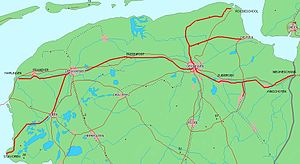 Groningen railway station - Regional railway lines, operated by Arriva, in the provinces of Friesland and Groningen (main lines not included on this map).