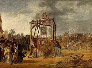 Jean-Pierre Norblin de La Gourdaine - Hanging of traitors at Warsaw's Old Town Market, a contemporary painting by Jan Piotr Norblin. The supporters of the Targowica Confederation, responsible for the second partition of Poland, became public enemies. If they could not be apprehended, their portraits were hanged instead.