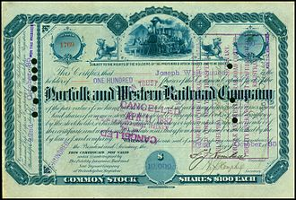 Share of the Norfolk and Western Railroad Company, issued October 22, 1885 Norfolk and Western RR 1885.jpg