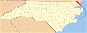 National Register of Historic Places listings in Camden County, North Carolina - Image: North Carolina Map Highlighting Camden County