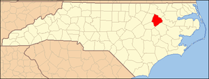 National Register of Historic Places listings in Edgecombe County, North Carolina - Image: North Carolina Map Highlighting Edgecombe County