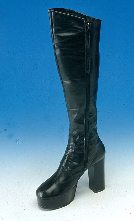 bdacc35fe3a Pair of 1970s platform-soled women s fashion boots in black leather.  Northampton Museum