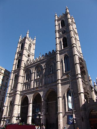 Christianity in Canada - Notre-Dame Basilica, a Roman Catholic church in Old Montreal of Montreal, Quebec. On its completion in 1888, it was the largest church building in North America.