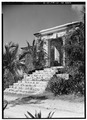 OBLIQUE VIEW OF EAST FRONT ENTRANCE - Sion Hill Estate, Great House, Centerline Road vicinity, Sion Hill, St. Croix, VI HABS VI,1-QUEEN,1-A-3.tif