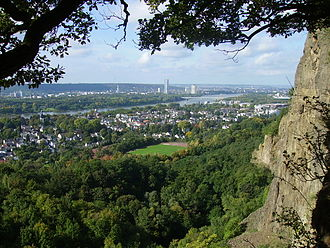 Oberkassel, Bonn - Oberkassel seen from its abandonend quarry - in background, on the other side of the Rhine, Bad Godesberg and Bonn