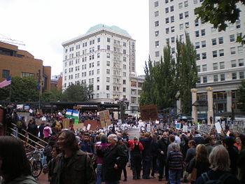 English: Occupy Portland protest at Pioneer Co...