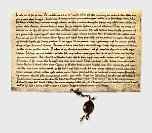 Livonian Crusade - The 1241 Treaty between Livonian Order, Bishopric of Ösel-Wiek and Oeselians at National Archives of Sweden