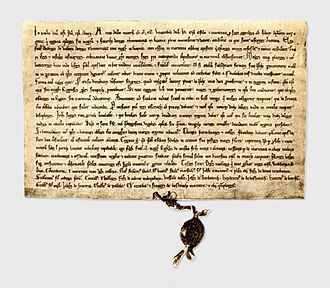 Saare County - The 1241 Treaty between Livonian branch of the Teutonic Order, Bishopric of Ösel-Wiek and Oeselians at National Archives of Sweden