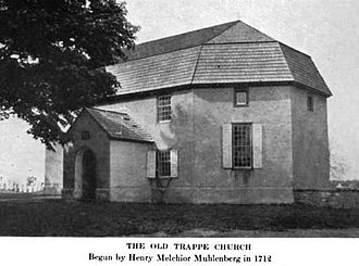Henry Muhlenberg - Exterior of the Old Trappe Church founded by Henry Muhlenberg. Note: Caption date is wrong; he founded it in 1742 or later.