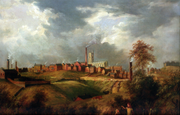Oldham from Glodwick by James Howe Carse (1831), depicts the early skyline and industrial activities of Oldham. All the green space has since been urbanised.