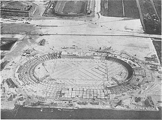 Old Stadion (Amsterdam) - Construction of the Amsterdam Olympic Stadium, next to the Old Stadion