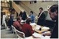 Onder leiding van burgemeester Dalhuisen tellen van de stemmen van de volksraadpleging over het fuseren van de gemeente Bennebroek met de gemeente Heemstede of de gemeente Bloemendaal. NL-HlmNHA 54037288.JPG