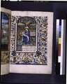 Opening of main text, miniature of John the Evangelist, initial, rubric and border decoration (NYPL b12455533-425954).tif