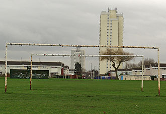 Amateur sports - Public football pitches are common in residential areas, such as this pitch on the Orchard Park Estate, Kingston upon Hull, England.