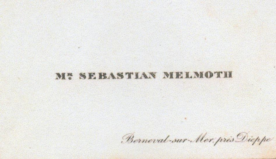 Oscar Wilde's visiting card (as Sebastian Melmoth)
