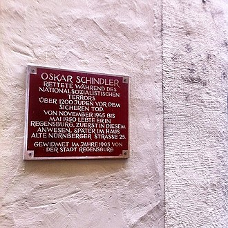 Oskar Schindler - Memorial plaque on the house where Schindler lived in Regensburg