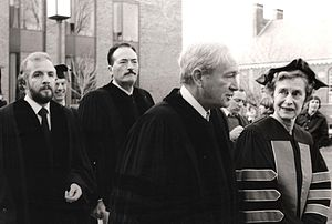 Franklin J. Schaffner - (from far left) Stanley O'Toole, Gregory Peck and Franklin J. Schaffner outside Franklin & Marshall College after accepting an honorary degree in 1977.