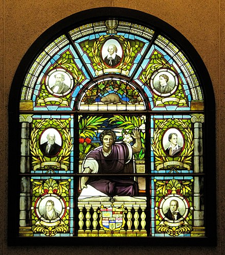 Stained glass at Ottawa Public Library features Charles Dickens, Archibald Lampman, Sir Walter Scott, Lord Byron, Alfred, Lord Tennyson, William Shakespeare, Thomas Moore Ottawa Public Library.jpg