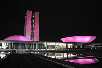 the national congress of brazil lit up in pink for breast cancer awareness month on october 1 2014 - Breast Cancer Pink Color Code