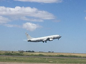 P-8 Poseidon taking off at Bahia Blanca (38526374676).jpg