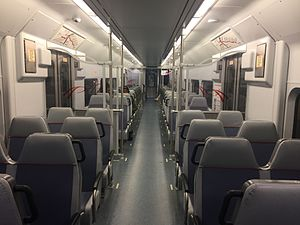 PATCO Speedline - The interior of a rebuilt PATCO car.