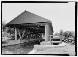 PERSPECTIVE VIEW FROM SOUTHWEST. - Duck Creek Aqueduct, Spanning Duck Creek at Whitewater Canal, Metamora, Franklin County, IN HAER IN-108-5.tif