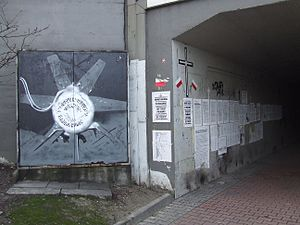 Warsaw concentration camp - Bema Street tunnel entry with a graffiti picture of the controversial ventilator machine.