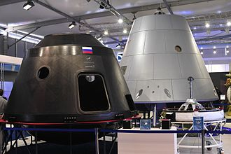 Federation (spacecraft) - Mockup and test article of the Federation crew module, photographed at the Moscow Air and Space Show in August 2015