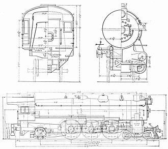 Pennsylvania Railroad class K4s - Dimensioned drawing.