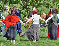 Wiccans gather for a handfasting ceremony at A...