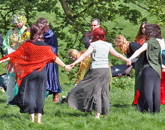 Neopaganism in the United Kingdom - Wiccans gather for a handfasting ceremony at Avebury in England.