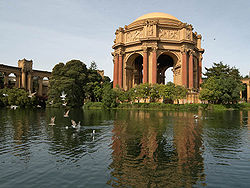 The Palace of Fine Arts, one of the two surviving buildings of the Panama-Pacific International Exposition, is the centerpiece Landmark of the Marina District.