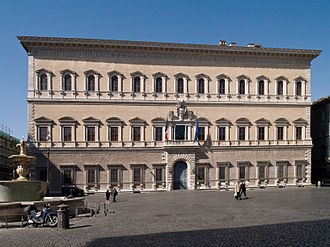The Palazzo Farnese, Rome (1534-1545). Designed by Sangallo and Michelangelo. Palais Farnese.jpg
