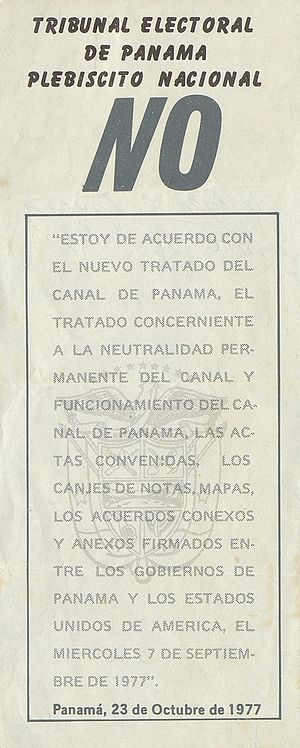 Torrijos–Carter Treaties - Image: Panamanian Plebiscite in 1977 Canal Treaties, voting no