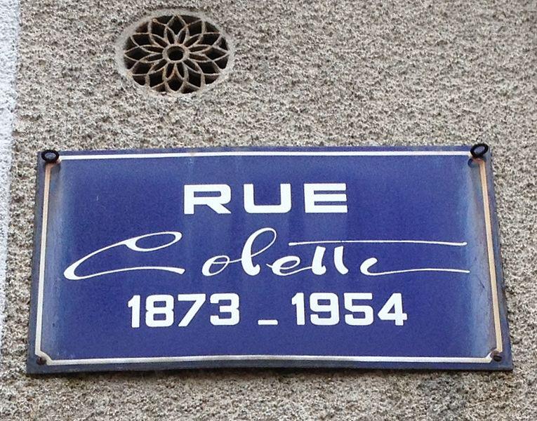 Panneau de la rue Colette à Saint-Sauveur-en-Puisaye. La maison natale de la romancière, se trouve dans cette rue.