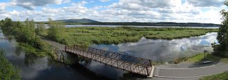 Granby, Quebec - A panorama of lake Boivin and its bicycle track.