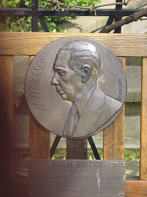 Nicolae Titulescu - Commemorative relief on Peace Palace Garden bench, a gift from the Romanian government.