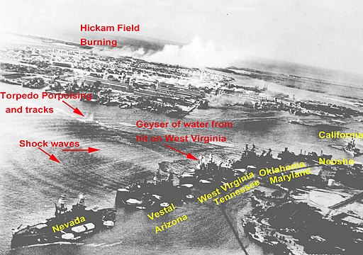 Pearl harbor 12-7-41 from attacking plane Nara 80-G-30550 annotated