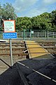 Pedestrian level crossing, Hawarden Bridge railway station (geograph 4032407).jpg