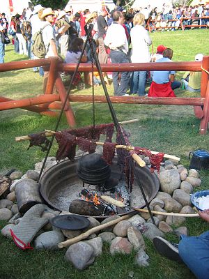 Pemmican - Traditional method of drying meat for pemmican demonstrated at Calgary Stampede.