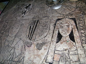 Penkridge - Image of Richard Littleton and Alice Wynnesbury, on incised slab of their recessed table tomb in the south nave aisle, very similar to the earlier Wynnesbury monument.