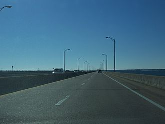 Pensacola Bay Bridge - On the bridge, heading south