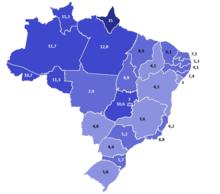 Percentual da população membro da Assembleia de Deus por estado no Brasil