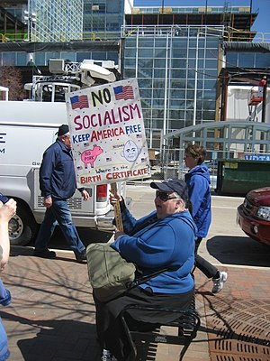Protester at Madison, WI Tea Party in April 2009.