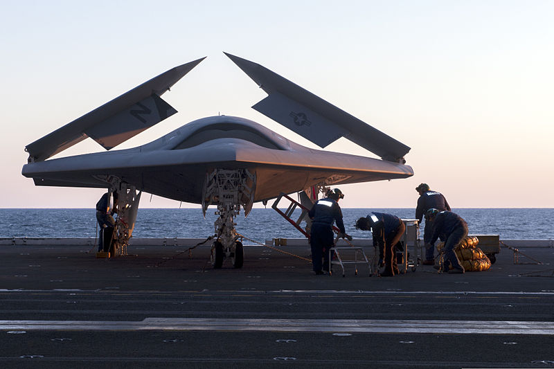 File:Personnel load a U.S. Navy X-47B Unmanned Combat Air System demonstrator aircraft on an aircraft elevator aboard the aircraft carrier USS George H.W. Bush (CVN 77) May 14, 2013, in the Atlantic Ocean 130514-N-FE409-027.jpg