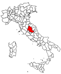 Location of Province of Perugia