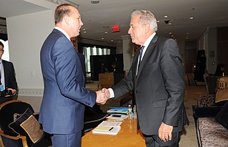 Peter Dutton - Dutton (left) meeting with EU Migration Commissioner Dimitris Avramopoulos in 2016.