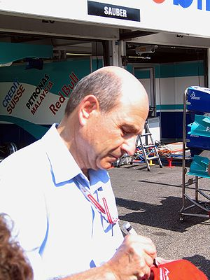 2004 German Grand Prix - Peter Sauber outside the Sauber garage.